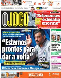 capa Jornal O Jogo de 17 agosto 2019