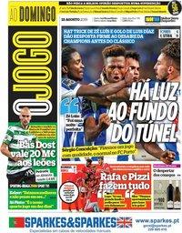 capa Jornal O Jogo de 18 agosto 2019