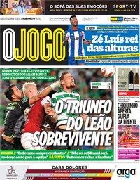 capa Jornal O Jogo de 19 agosto 2019