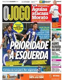 capa Jornal O Jogo de 20 agosto 2019