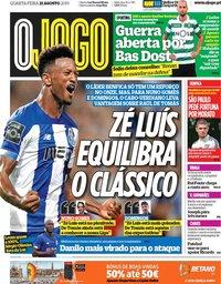 capa Jornal O Jogo de 21 agosto 2019