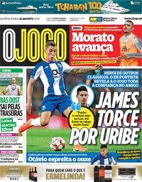 capa Jornal O Jogo de 22 agosto 2019