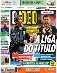 capa Jornal O Jogo de 24 agosto 2019