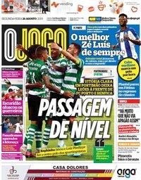 capa Jornal O Jogo de 26 agosto 2019