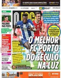 capa Jornal O Jogo de 27 agosto 2019