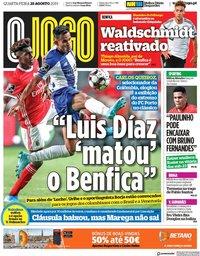 capa Jornal O Jogo de 28 agosto 2019