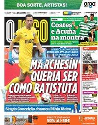 capa Jornal O Jogo de 29 agosto 2019