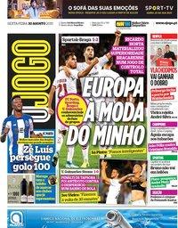 capa Jornal O Jogo de 30 agosto 2019