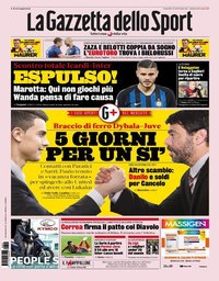capa La Gazzeta dello Sport de 2 agosto 2019