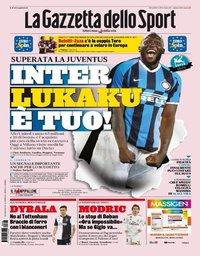 capa La Gazzeta dello Sport de 8 agosto 2019