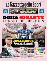 capa La Gazzeta dello Sport de 9 agosto 2019