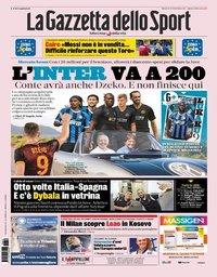capa La Gazzeta dello Sport de 10 agosto 2019