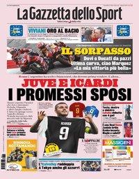 capa La Gazzeta dello Sport de 12 agosto 2019