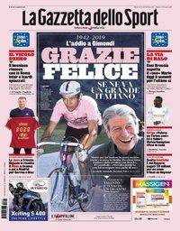 capa La Gazzeta dello Sport de 17 agosto 2019