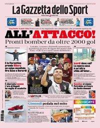 capa La Gazzeta dello Sport de 21 agosto 2019