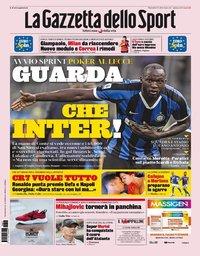 capa La Gazzeta dello Sport de 27 agosto 2019