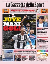 capa La Gazzeta dello Sport de 29 agosto 2019