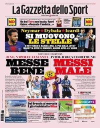 capa La Gazzeta dello Sport de 30 agosto 2019