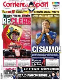 capa Corriere dello Sport de 9 setembro 2019