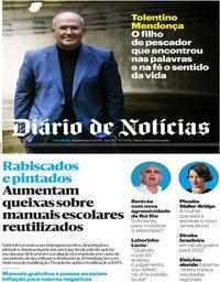 capa Diário de Notícias de 2 setembro 2019