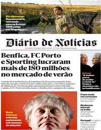capa Diário de Notícias de 3 setembro 2019
