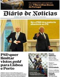 capa Diário de Notícias de 9 setembro 2019