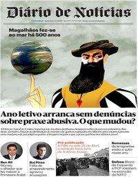 capa Diário de Notícias de 20 setembro 2019