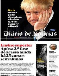 capa Diário de Notícias de 26 setembro 2019