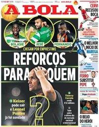 capa Jornal A Bola de 3 setembro 2019