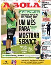 capa Jornal A Bola de 4 setembro 2019