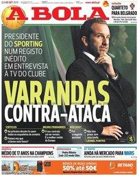 capa Jornal A Bola de 5 setembro 2019