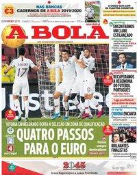 capa Jornal A Bola de 8 setembro 2019