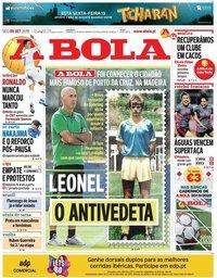 capa Jornal A Bola de 9 setembro 2019
