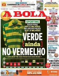 capa Jornal A Bola de 10 setembro 2019