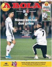 capa Jornal A Bola de 11 setembro 2019