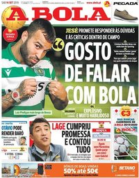 capa Jornal A Bola de 14 setembro 2019