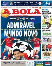 capa Jornal A Bola de 17 setembro 2019
