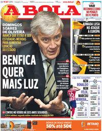 capa Jornal A Bola de 19 setembro 2019