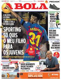 capa Jornal A Bola de 21 setembro 2019