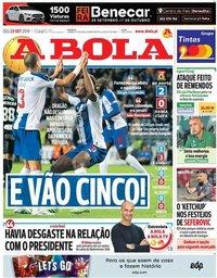 capa Jornal A Bola de 23 setembro 2019