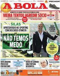 capa Jornal A Bola de 28 setembro 2019