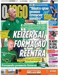 capa Jornal O Jogo de 4 setembro 2019