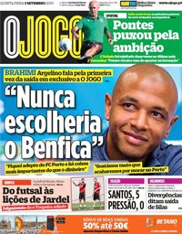 capa Jornal O Jogo de 5 setembro 2019