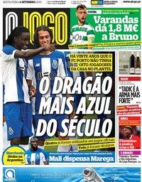 capa Jornal O Jogo de 6 setembro 2019