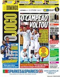 capa Jornal O Jogo de 8 setembro 2019