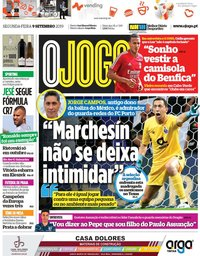 capa Jornal O Jogo de 9 setembro 2019