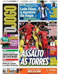 capa Jornal O Jogo de 10 setembro 2019