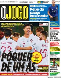 capa Jornal O Jogo de 11 setembro 2019