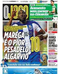 capa Jornal O Jogo de 13 setembro 2019