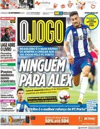 capa Jornal O Jogo de 14 setembro 2019